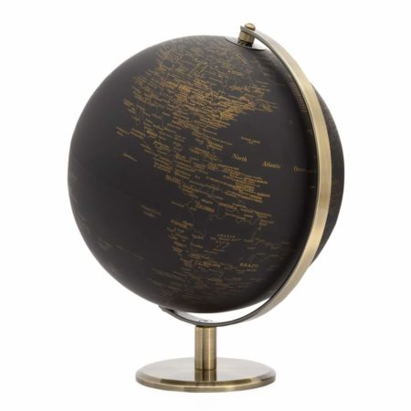 Black and Gold Vintage Globe 9.5""