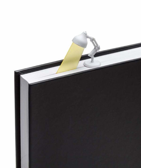 Lightmark 3D lamp bookmark in book - white