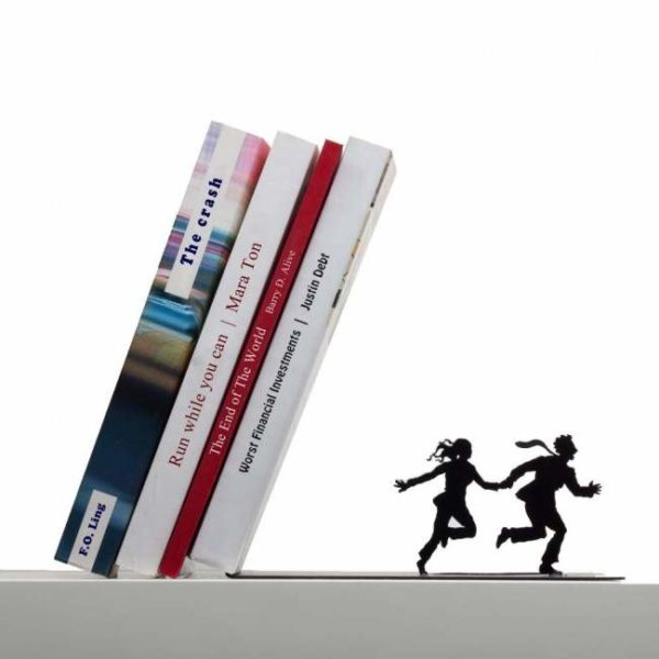 Leaning Bookend Running Couple Front