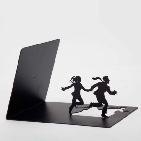 Leaning Bookend Running Couple