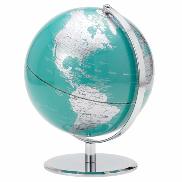 """Teal and Silver Globe 9.5"""""""
