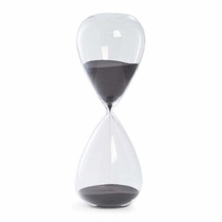 Frameless hourglass timer filled with black sand.