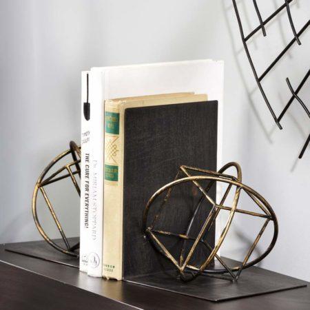Geometric Bookend On Bookshelf