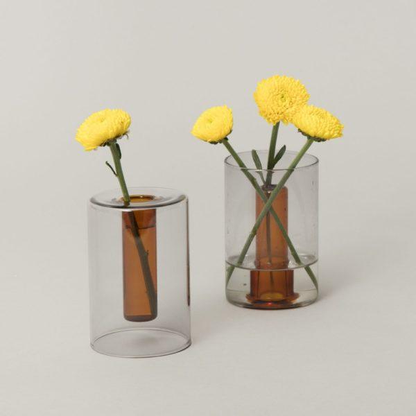 Pen Holder and Reversible Vase, Amber/Grey