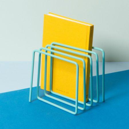 Block Design Desktop File Holder Blue