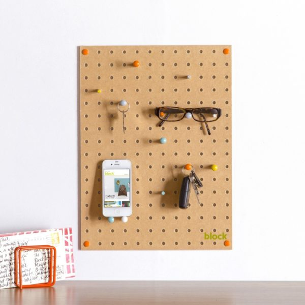 Small Wood Pegboard by Block Design storage example Natural Finish