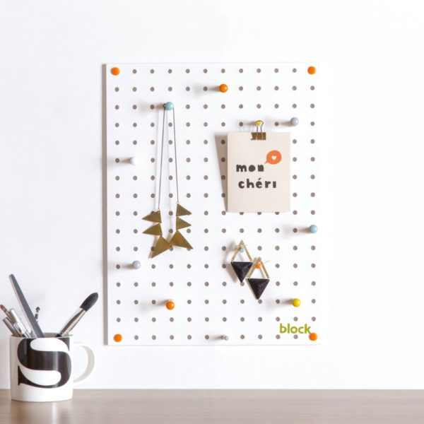 Small Wood Pegboard by Block Design use example White Finish