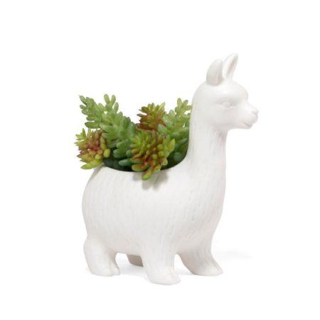 Lloyd white llama planter with plants