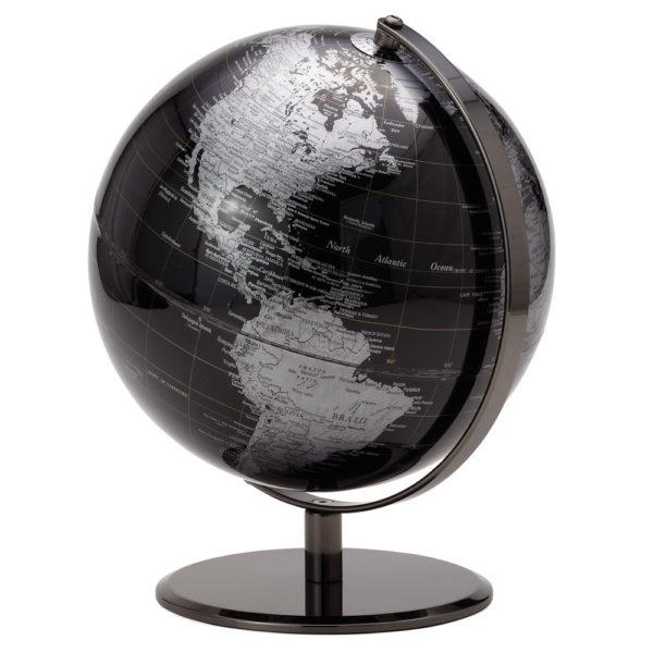 Black and Silver Desk Globe 9.5 inch