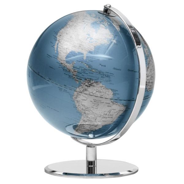Blue and Silver Desk Globe 9.5 inch