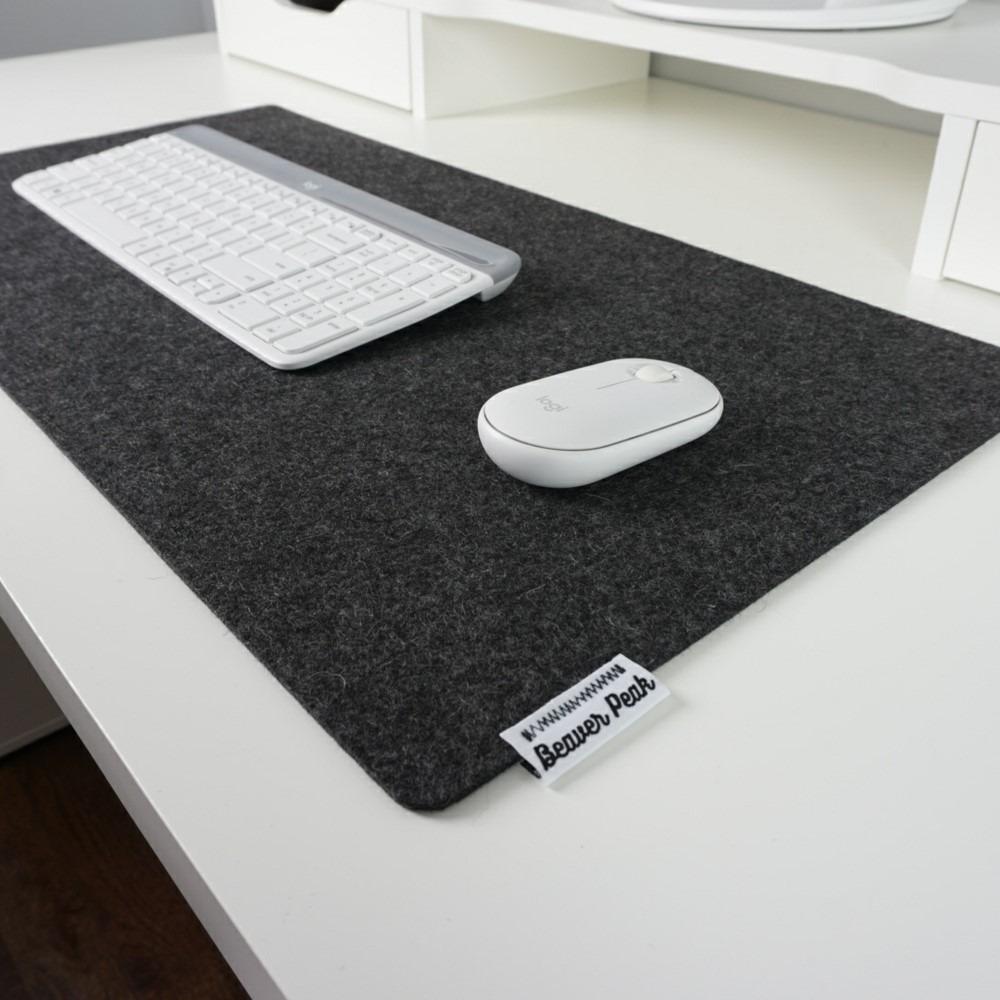 Black merino wool mouse pad