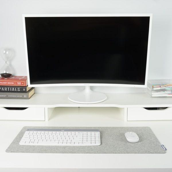Light grey merino wool desk mat