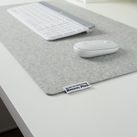 Light grey merino wool mouse pad