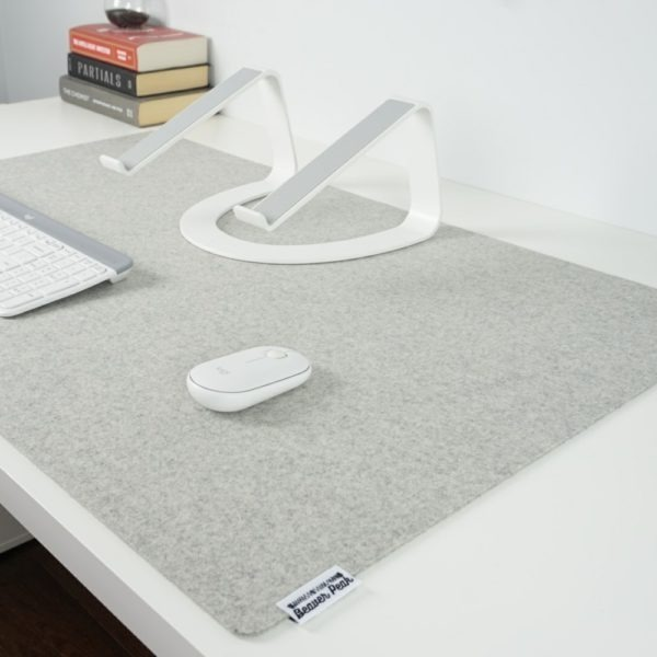 Extra large light grey merino wool desk mat