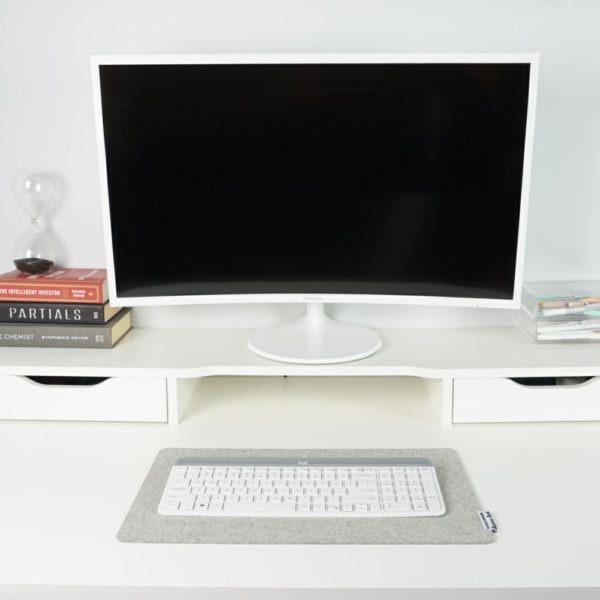 Light grey merino wool keyboard mat